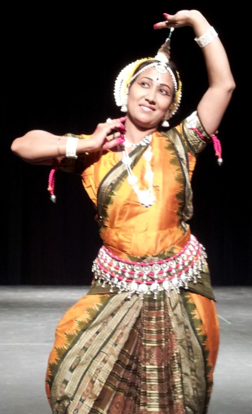 Bidisha Mohanty strikes a pose in the classical Odissi dance form. She imparts the ancient Odissi and Folk dance form in Bay Area (San Jose), USA